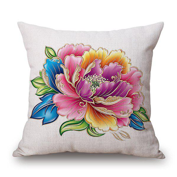 Chinese Style Peony Blossom Linen Throw Pillow Case - WHITE