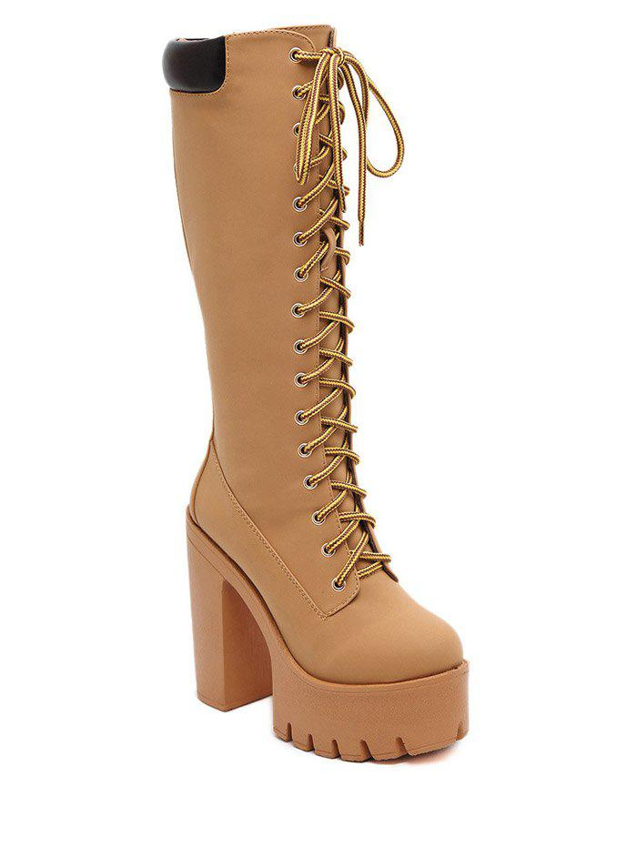 Trendy Platform and Tie Up Design Women's Mid-Calf Boots - LIGHT BROWN 39