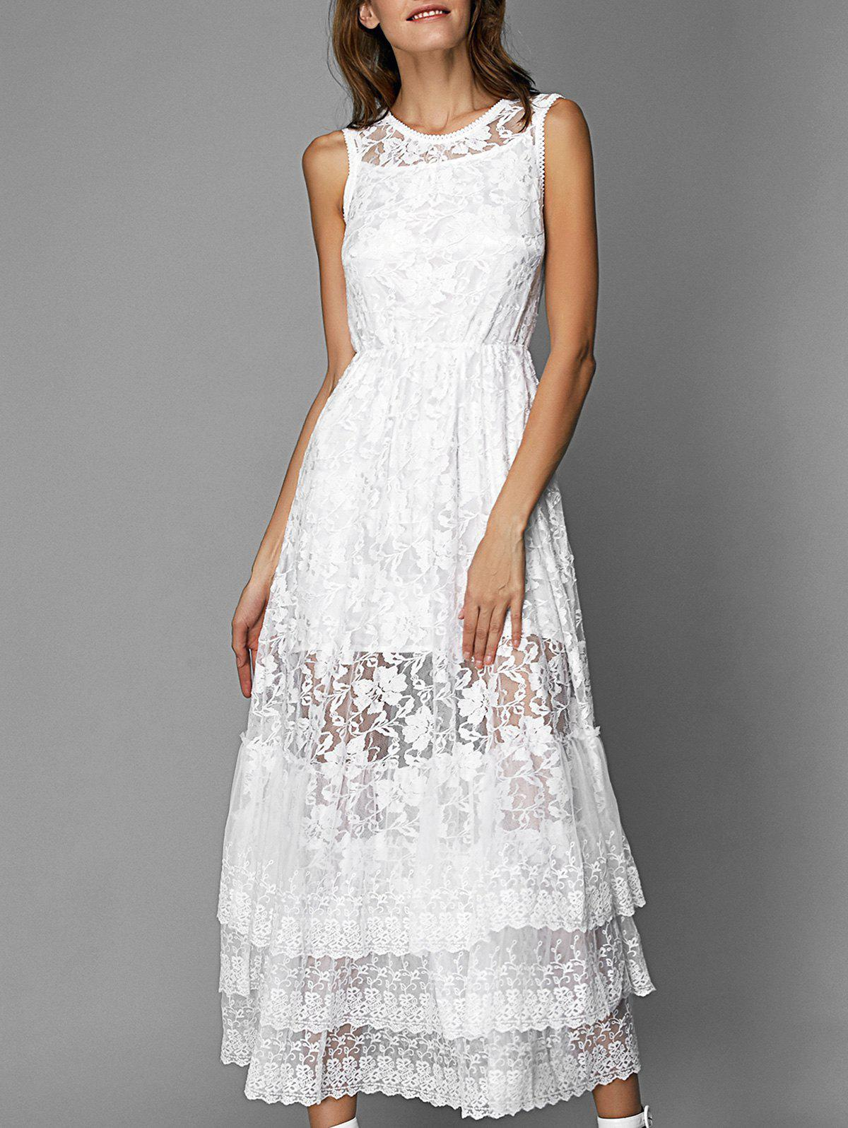 Lace Tiered Long Prom Bridesmaid Dress - WHITE XL
