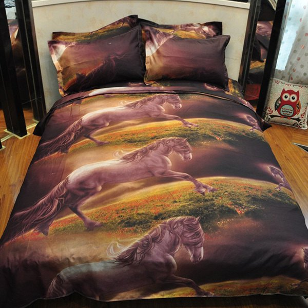 4PCS Activity Pentium Horse Reactive Print Duvet Cover Bedding Set - COLORMIX FULL