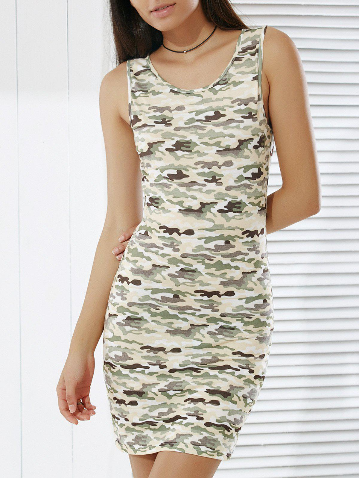 Trendy Camouflage Print Skinny Tank Dress For Women