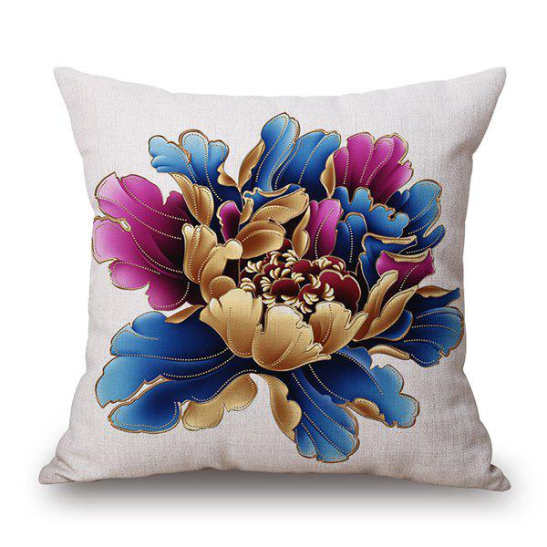 Peony Blossom Print Linen Home Decor Pillow Case - WHITE