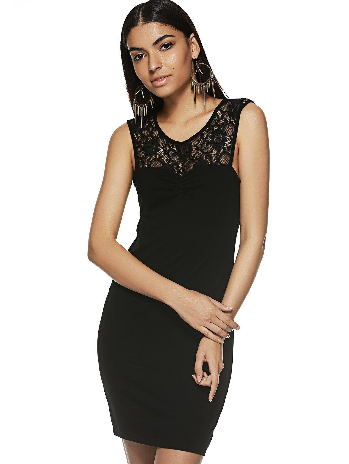 Trendy Lace Spliced Jewel Neck Tank Dress For Women - BLACK XL