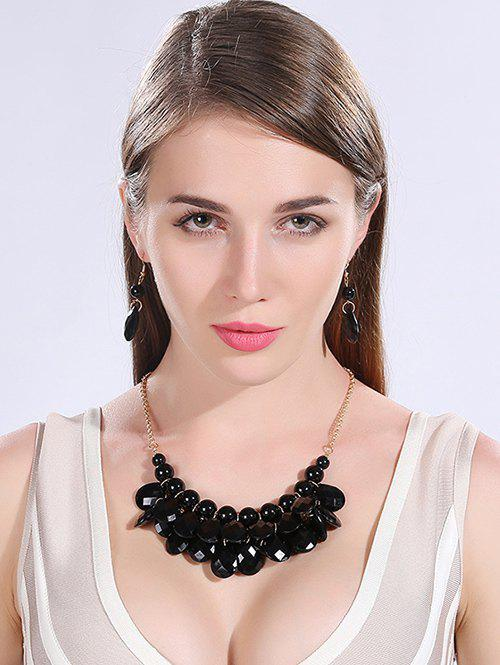 Water Drop Statement Necklace and Earrings - BLACK