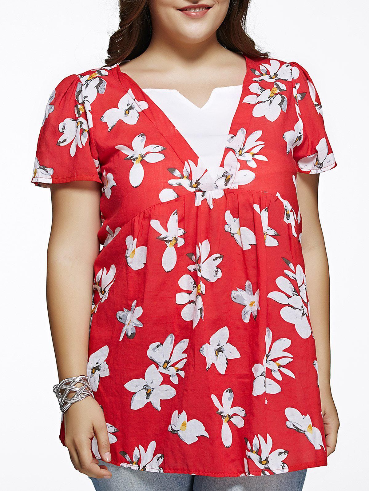 Refreshing Flower Print Spliced Plus Size BlouseWomen<br><br><br>Size: 2XL<br>Color: RED