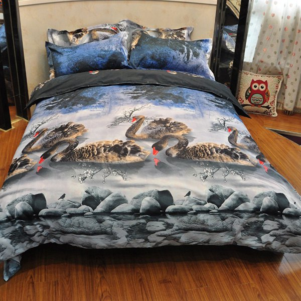 Eco-Friendly 3D Swans Reactive Print Duvet Cover 4PCS Bedding Set - COLORMIX FULL