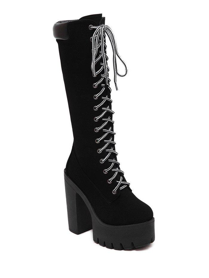 Stylish Chunky Heel and Black Design Women's Mid-Calf Boots