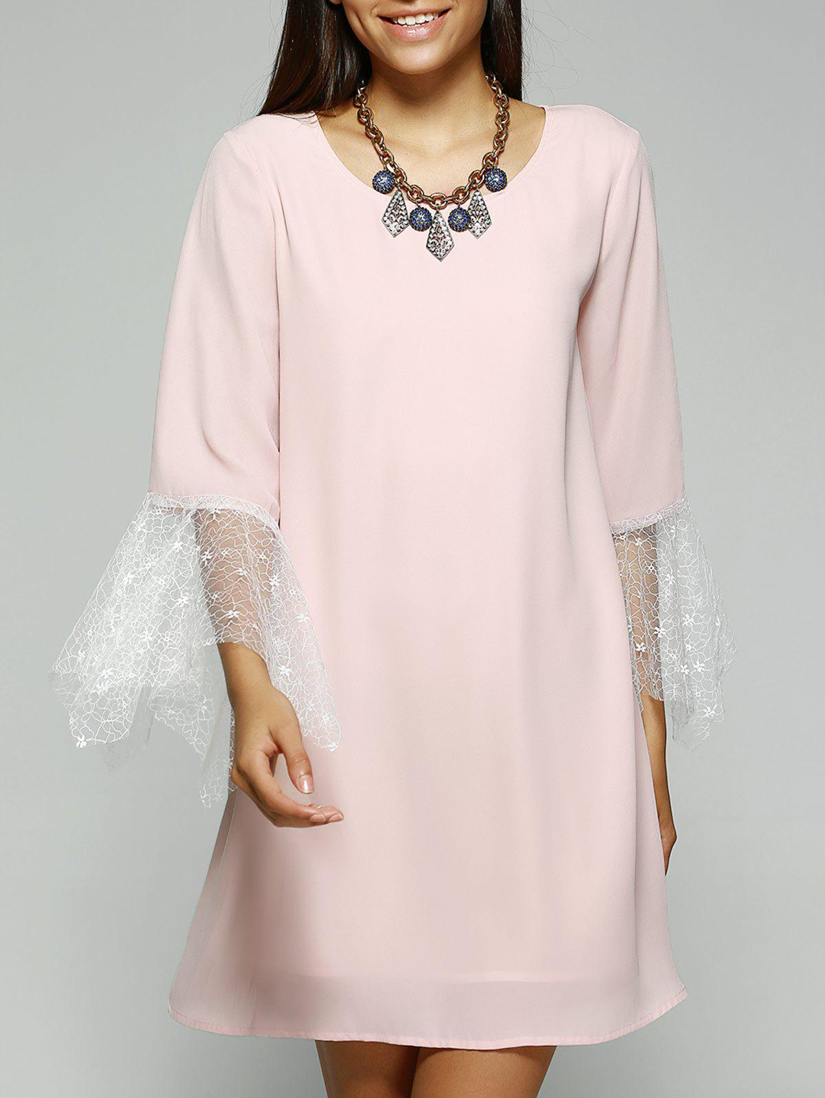 Fashionable Jewel Neck Laced Pink Dress For Women - PINK S