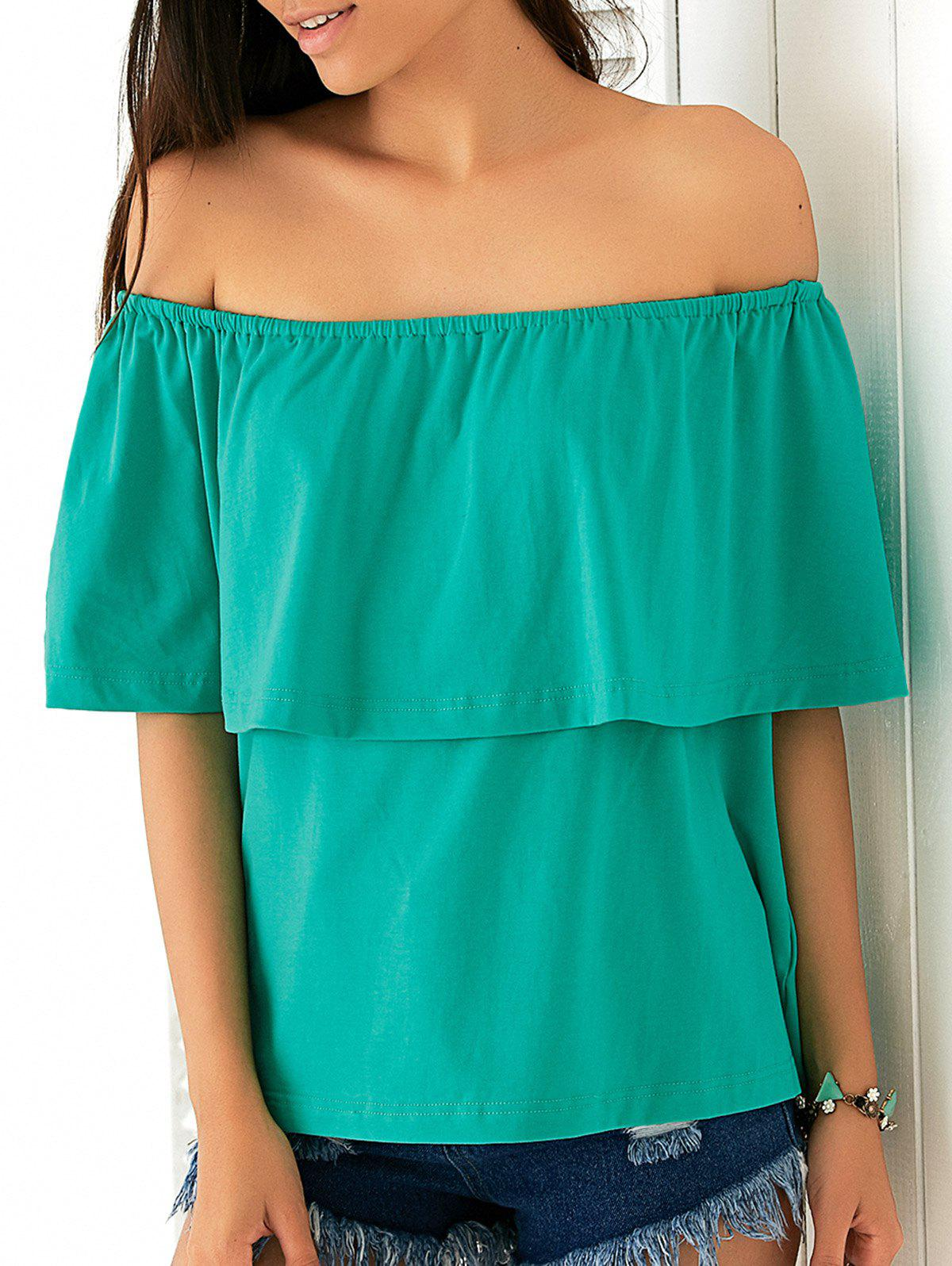 Off-The-Shoulder Overlay Blouse - GREEN 2XL