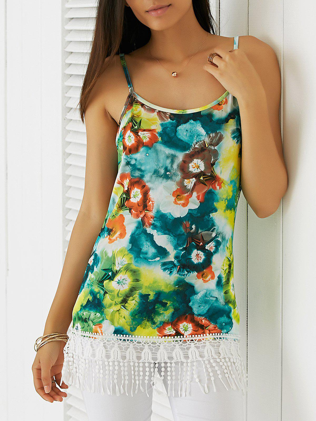 Fringed Floral Print  Spaghetti Strap Tank Top - L COLORMIX