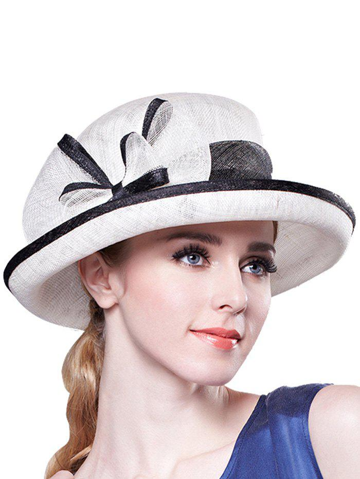 Stylish Bowknot Linen Bowler Hat - WHITE