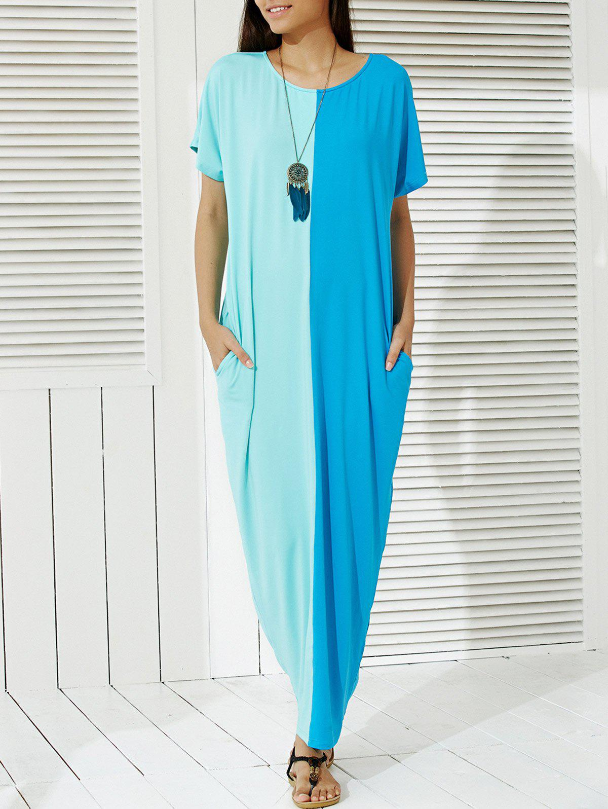 Fashionable Half Sleeve Color Block Maxi Dress For Women - WATER BLUE M