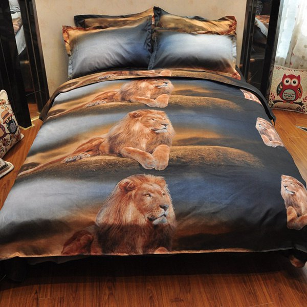 4PCS Domineering Lions Reactive Print Duvet Cover Bedding Set