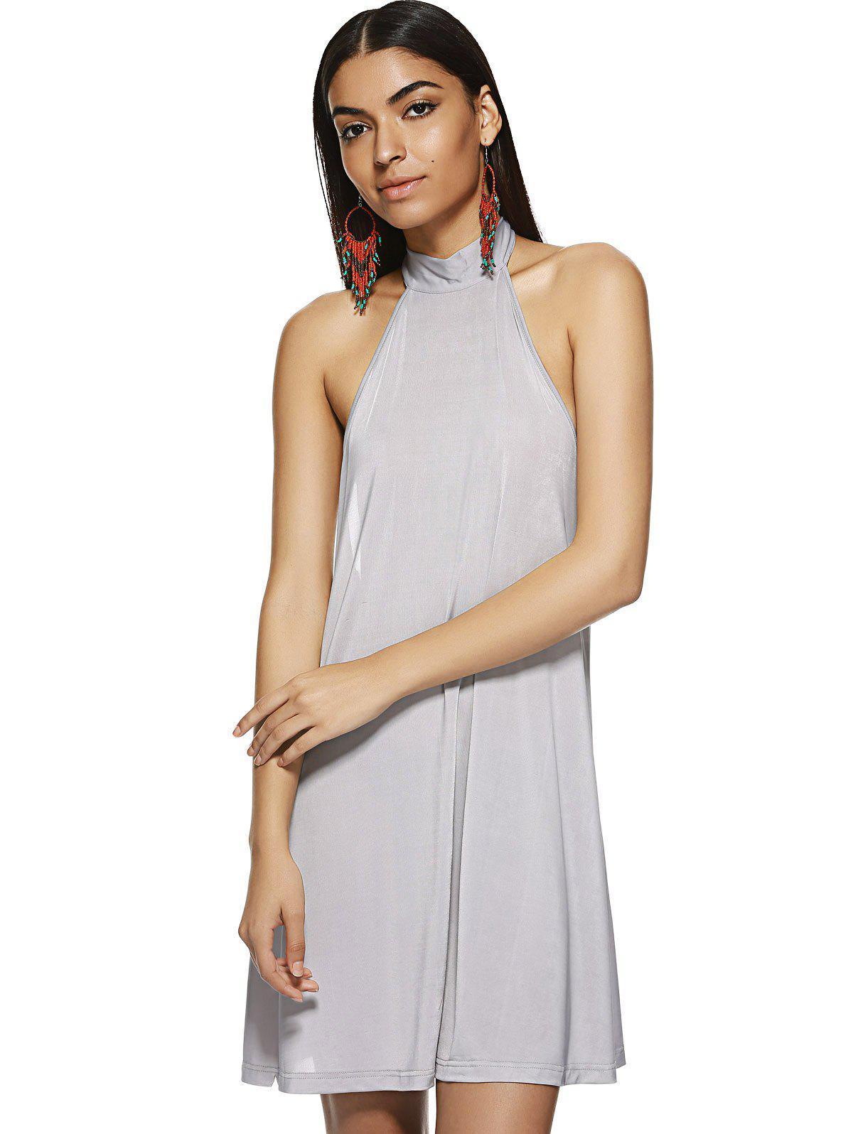 Trendy Hang A Neck Backless Dress For Woman - S LIGHT GRAY