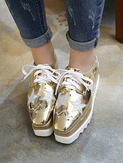 Fashion Square Toe and Star Pattern Design Women's Wedge Shoes - GOLDEN 37