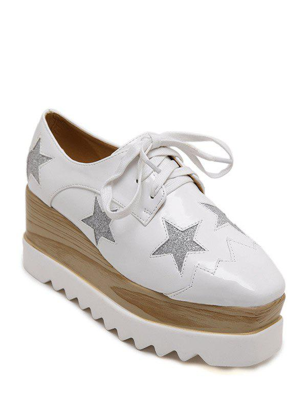 Fashion Square Toe et Motif Star Design Femmes  's Shoes Wedge - Blanc 38