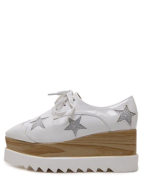 Fashion Square Toe and Star Pattern Design Women's Wedge Shoes - WHITE 39