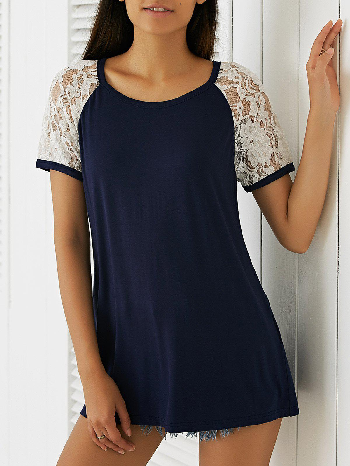Slimming Loose-Fitting Lace Stitching T-Shirt