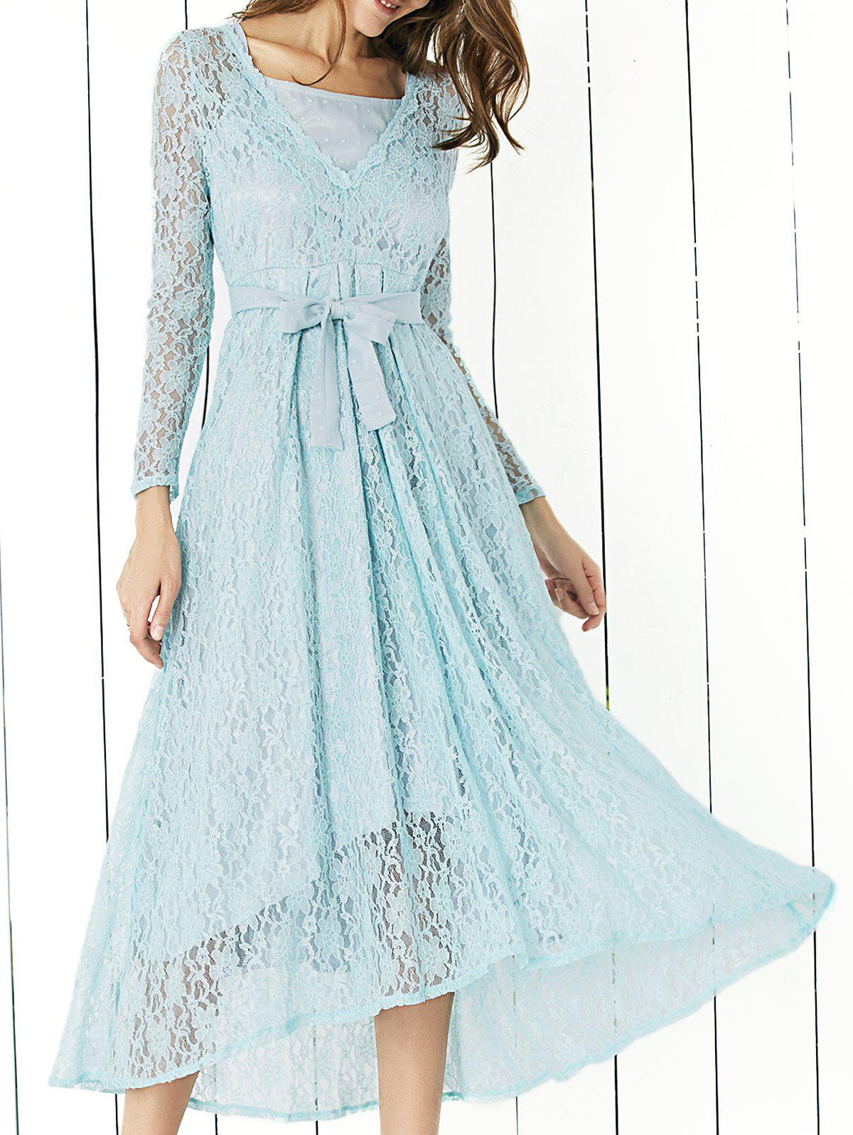 Elegant Long Sleeve Bowknot Tie Belted Lace Dress For Women - BLUE XL