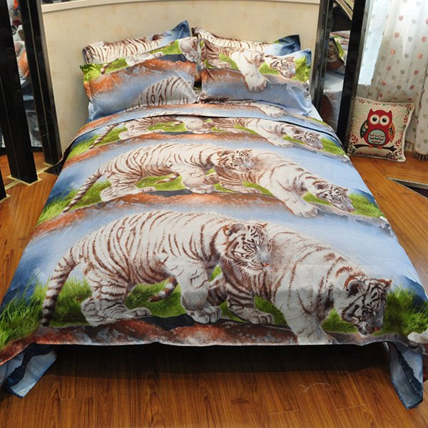 High Quality 3D Tigers Reactive Print Duvet Cover 4PCS Bedding Set - COLORMIX FULL