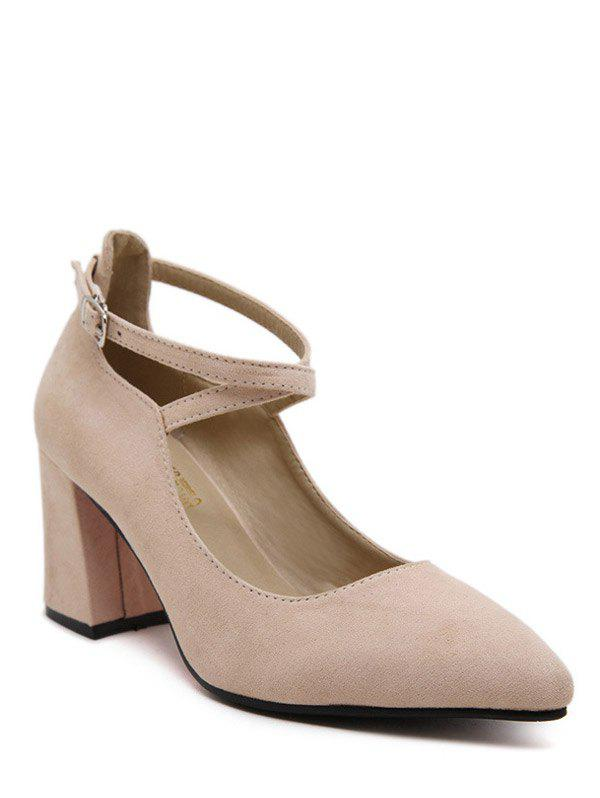 Trendy Cross Straps and Pointed Toe Design Women's Pumps - APRICOT 39