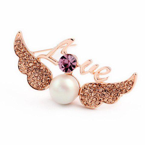 Rhinestone Faux Pearl Wings Love Letters Brooch - PURPLE