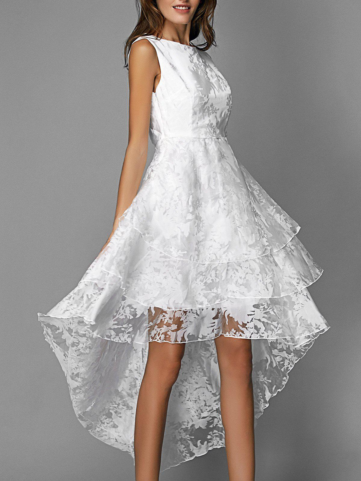 Graceful Sleeveless Floral Organza Layered High Low Dress For Women - WHITE XL