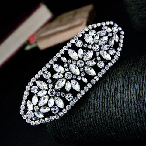 Stunning Silver Plated Rhinestone Cut Out Floral Barrette For Women - SILVER