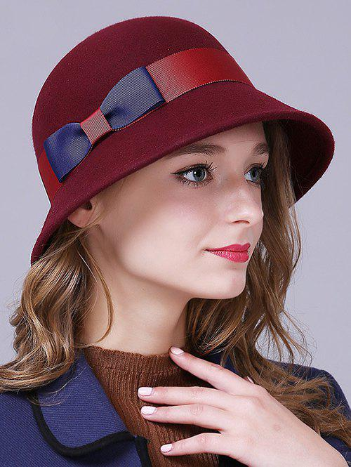 Buy Stylish Bowknot Wool Bucket Hat CLARET