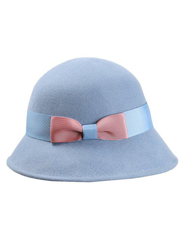 Stylish Bowknot Wool Bucket Hat - LIGHT BLUE