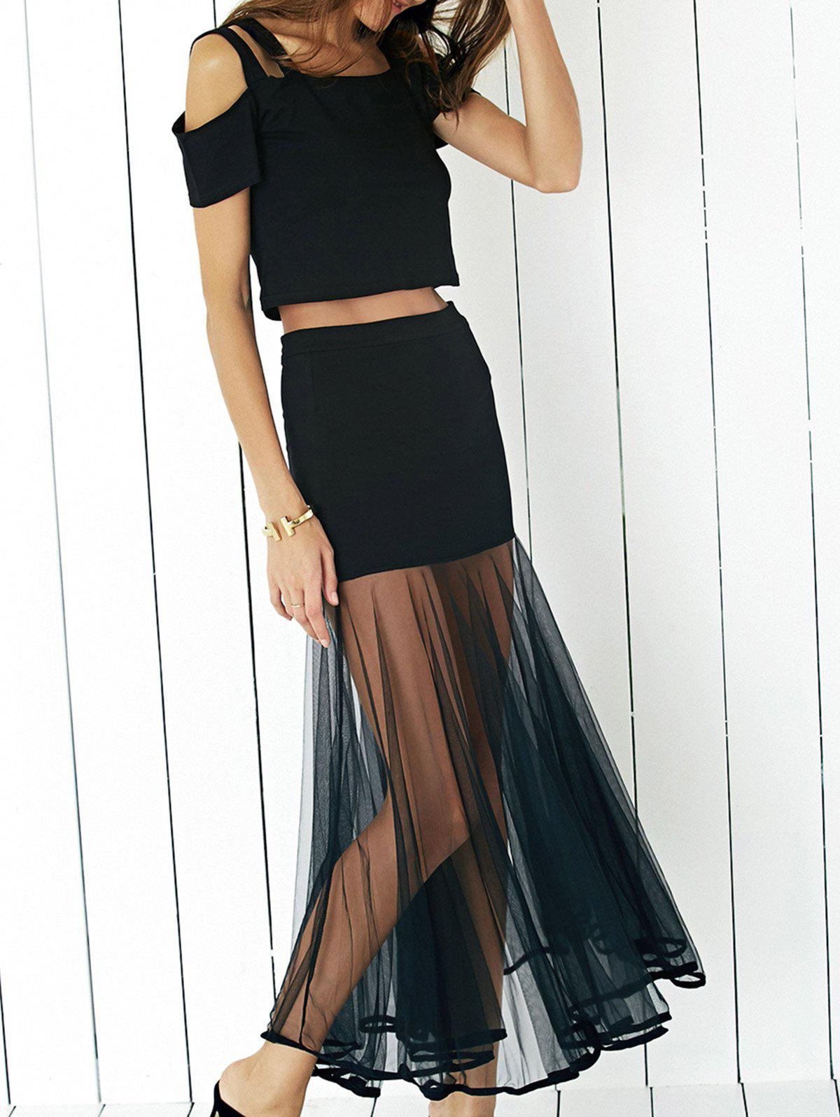 Graceful Cold Shoulder Crop Top and Tulle Spliced Skirt Twinset For Women - BLACK XL