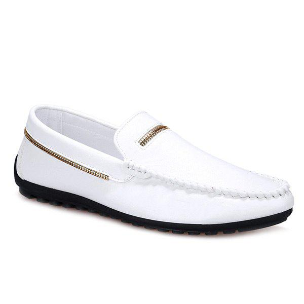 Stylish Zipper and Stitching Design Men's Casual Shoes - WHITE 42