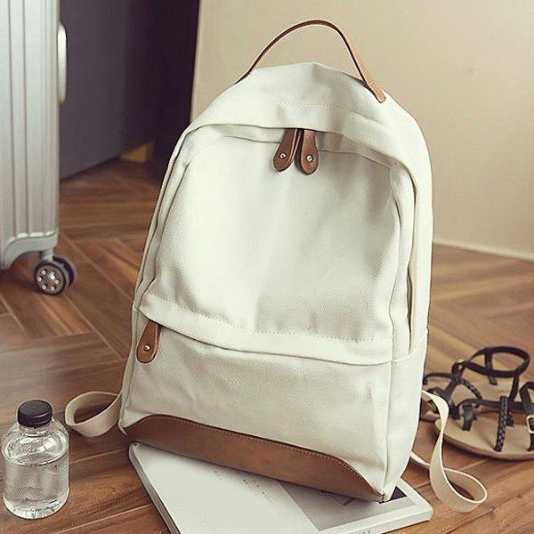 Leisure Canvas and PU Splice Design Women's Backpack - MILK WHITE