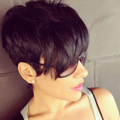 Attractive Straight Black Synthetic Short Boy Cut Capless Wig For Women - BLACK