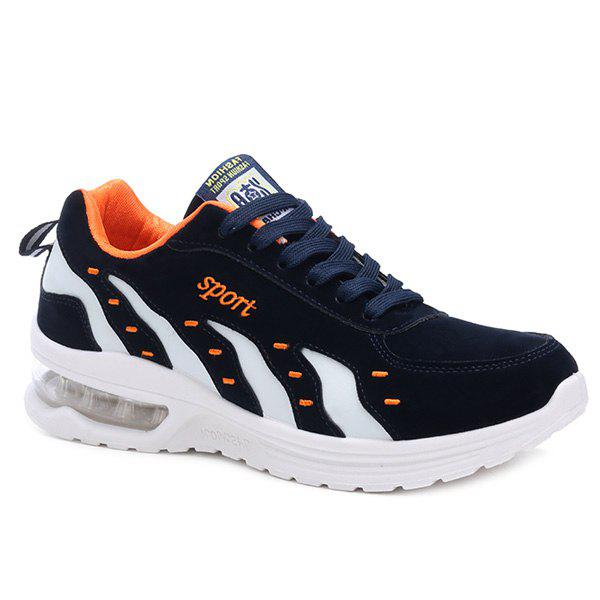 Fashionable Color Splicing and Tie Up Design Men's Athletic Shoes - DEEP BLUE 43