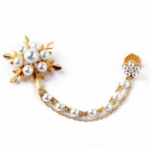 Floral Faux Pearl Gold Plated Sweater Guard Brooch - GOLDEN