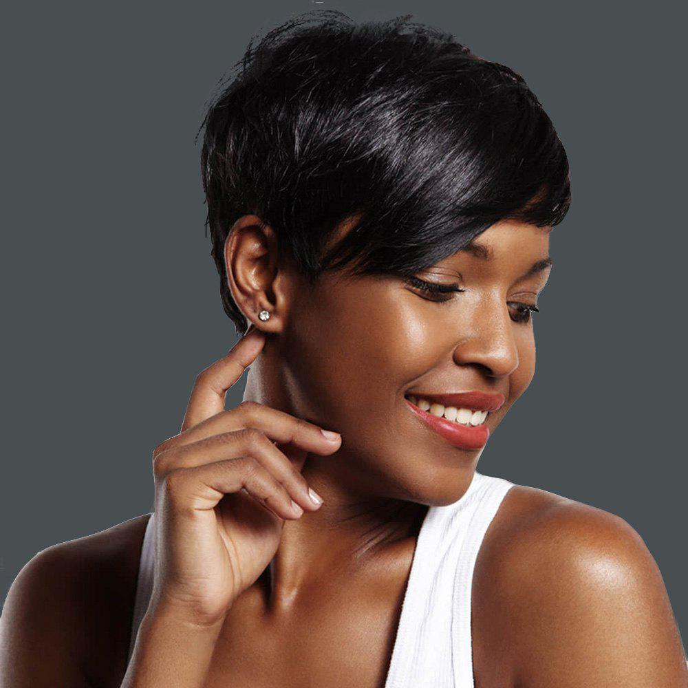 Fashion Straight Short Capless Black Pixie Cut Synthetic Wig For Women - BLACK