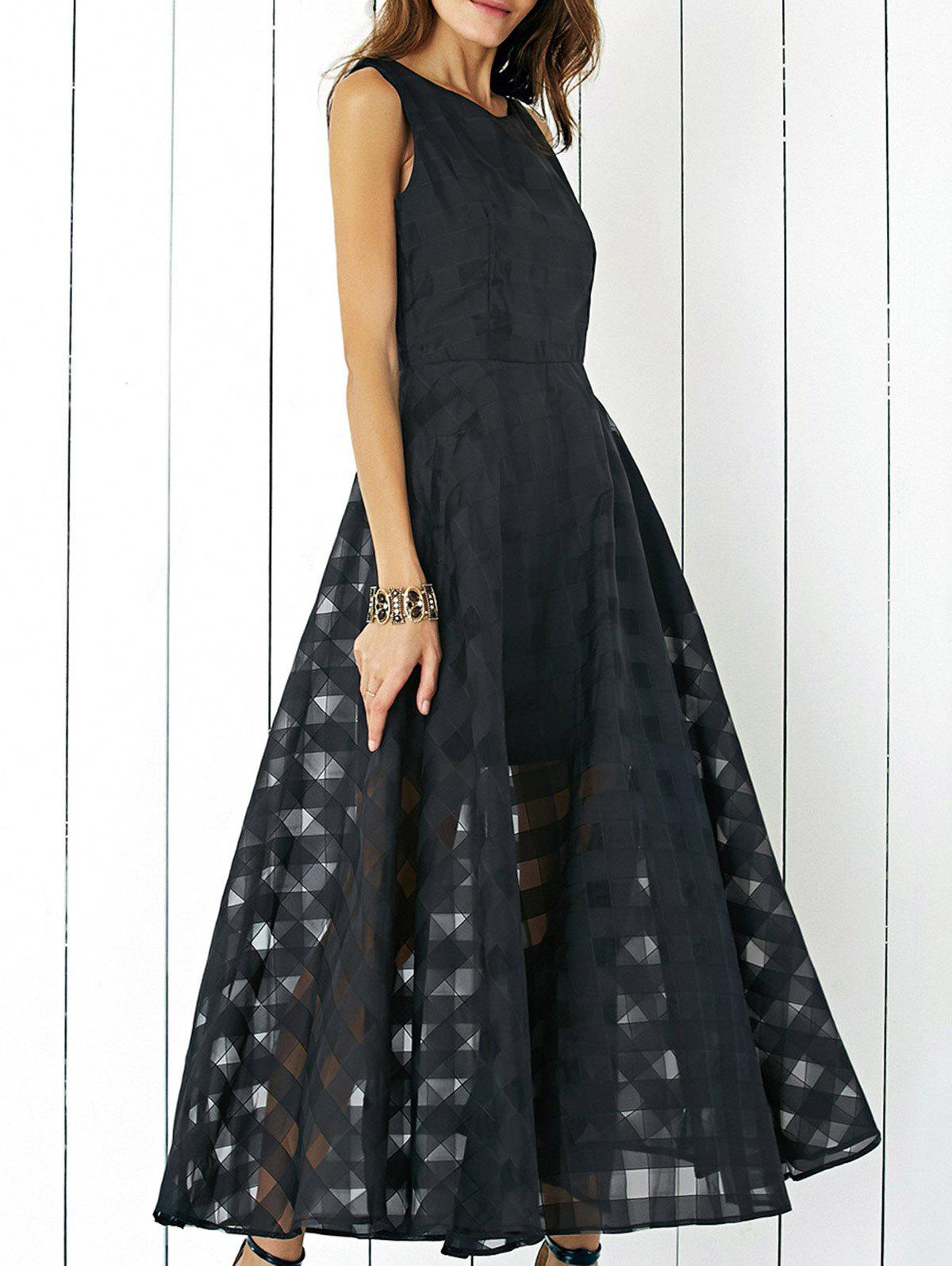 Stylish Sleeveless Plaid Organza Layered Maxi Dress For Women - BLACK XL