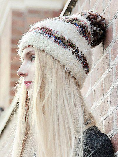 Stylish Ball Decorated Winter Knitted Hat - OFF WHITE