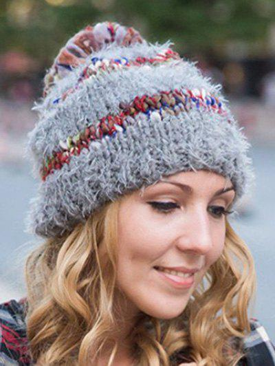 Stylish Ball Decorated Winter Knitted Hat stylish women s button ball decorated woolen hat