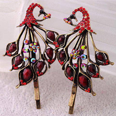 Pair of Vintage Cut Out Resin Rhinestone Peacock Barrette For Women - DARK RED