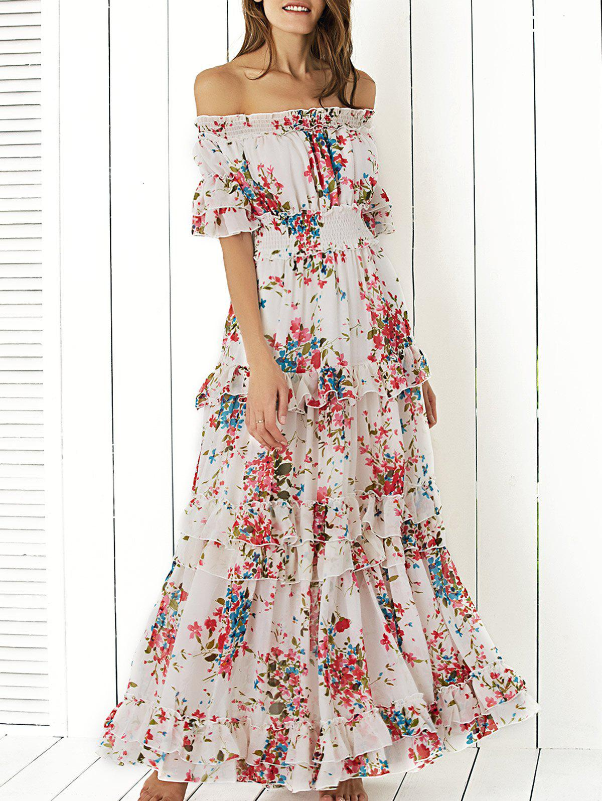 Bohemian Off The Shoulder Floral Shirred Flounce Maxi Dress For Women - WHITE L