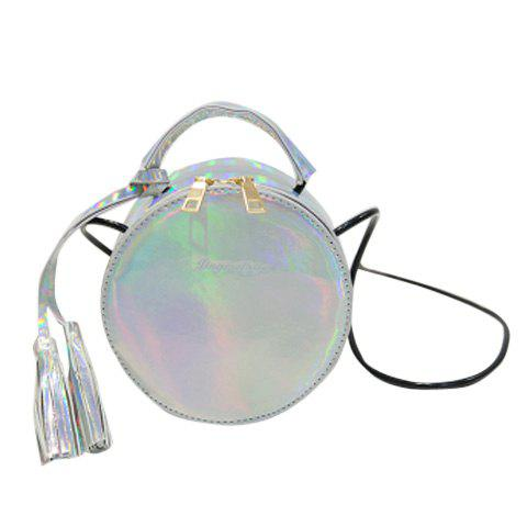 Trendy Round Shape and Tassel Design Women's Crossbody Bag - SILVER