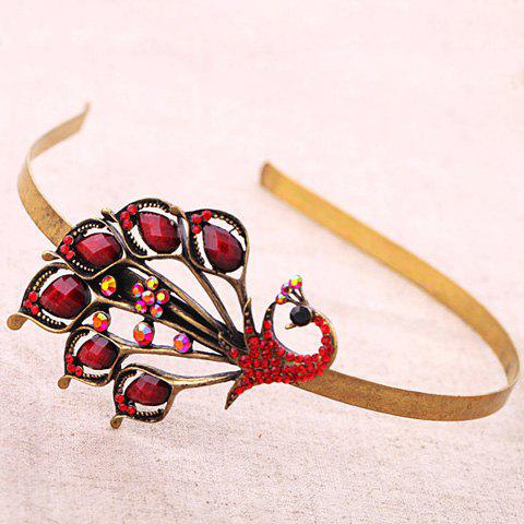 Vintage Cut Out Faux Crystal Rhinestone Peacock Hairband For Women - DARK RED