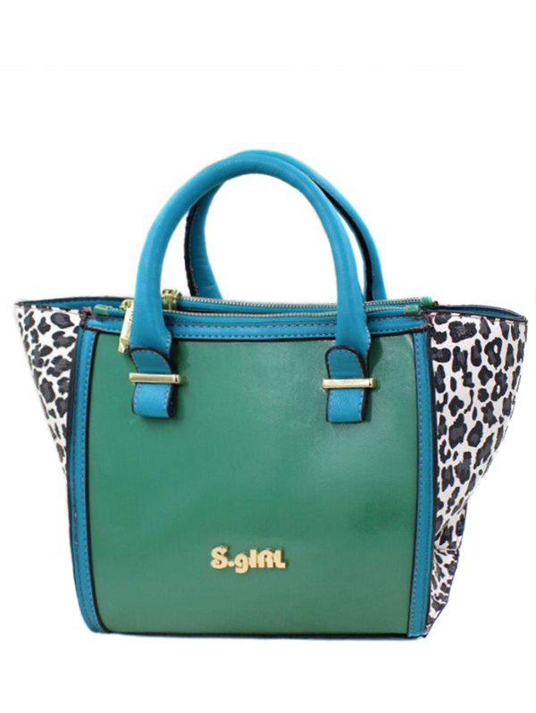 Stylish Leopard Print and Color Block Design Women's Tote Bag - GREEN