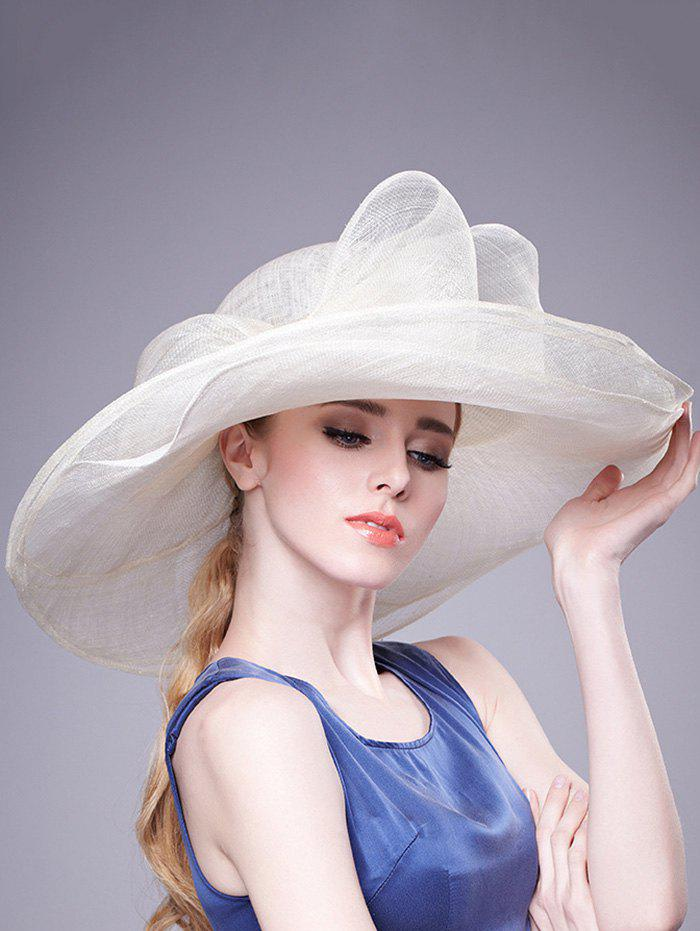 Stylish Bowknot Linen Woven Dinner Hat - OFF WHITE