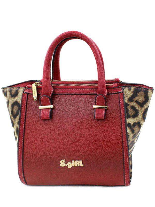 Stylish Leopard Print and Color Block Design Women's Tote Bag - RED