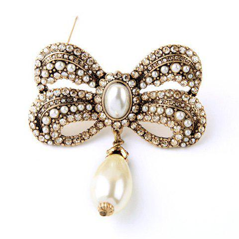 Vintage Etched Faux Pearl Rhinestone Oval Teardrop Bowknot Brooch For Women - YELLOWISH PINK