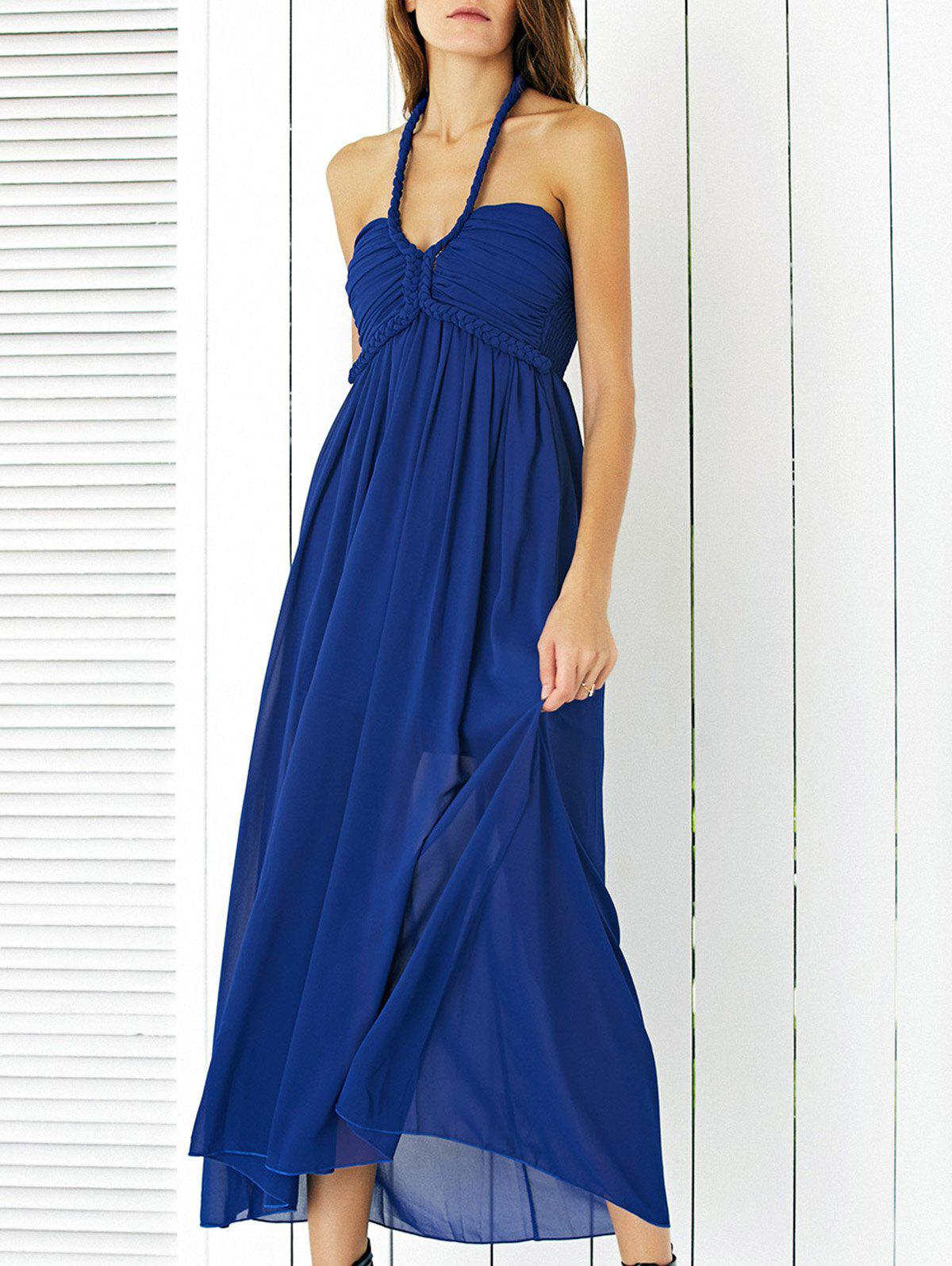 Charming Braid Halter Shirred Maxi Dress For Women - BLUE XL