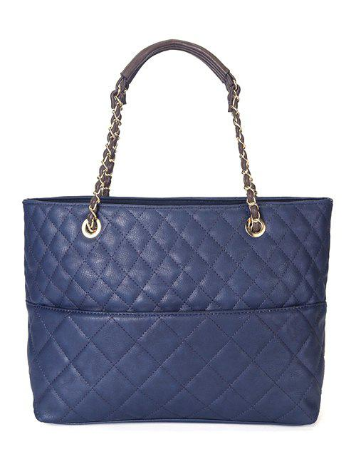 Stylish Checked Stitches and Chains Design Women's Tote Bag - SAPPHIRE BLUE